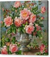 English Elegance Roses In A Silver Vase Canvas Print