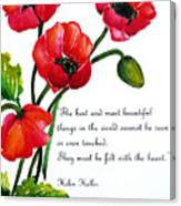 English Poppy   Poem Canvas Print
