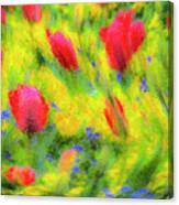 English Summer Flowers Pastel Canvas Print