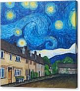 English Village In Van Gogh Style Canvas Print