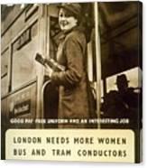 Enjoy Your War Work - London Underground, London Metro - Retro Travel Poster - Vintage Poster Canvas Print