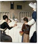 Enrique Paternina Garcia Cid - Mother Visit To The Hospital 1892 Canvas Print