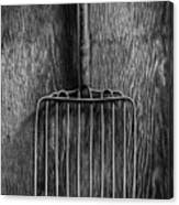 Ensilage Fork Up On Plywood In Bw 66 Canvas Print