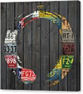 Enso Symbol Recycled Vintage Michigan License Plate Art Canvas Print