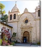 Entering The Church Sanctuary At Carmel Mission-california  Canvas Print