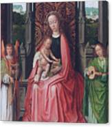 Enthroned Virgin And Child, With Angels Canvas Print