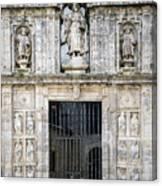 Entrance Facade In Landmark Cathedral Of Santiago De Compostela  Canvas Print