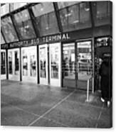 entrance to Port Authority bus terminal New York City USA Canvas Print