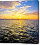 Epic Colorful Sunset On Sea Canvas Print