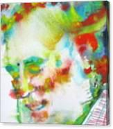 Ernest Hemingway - Watercolor Portrait.10 Canvas Print