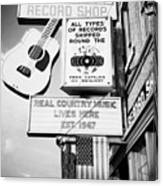 ernest tubbs record shop on broadway downtown Nashville Tennessee USA Canvas Print