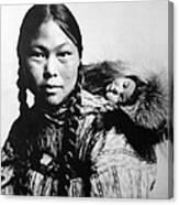 Eskimo Woman And Child Canvas Print