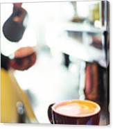 Espresso Expresso Italian Coffee Cup With Machine  Canvas Print