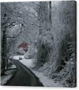 Esso Barn In Winter Canvas Print