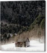 Ethereal Barn In Winter Canvas Print