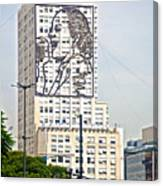 Eva Peron Outlined On The Wall Of A Skyscraper On July Nine Avenue  In Buenos Aires-argentina Canvas Print