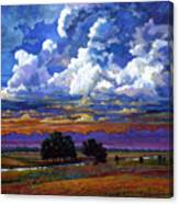 Evening Clouds Over The Prairie Canvas Print