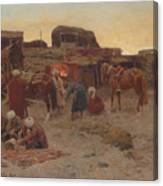 Evening Falls At The Camp Canvas Print