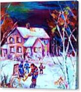 Evening  Game At The Chalet Canvas Print