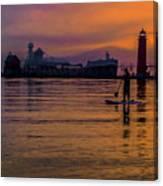 Evening On Lake Michigan At Grand Haven Canvas Print