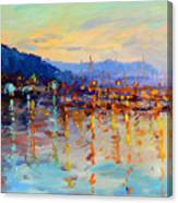 Evening Reflections In Piermont Dock Canvas Print