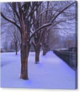 Evening Snow Path At Waterfront Park Burlington Vermont Canvas Print