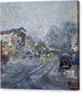 Evening Snowfall At Webster St Canvas Print