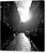 Evening Walk In Paris Bw Canvas Print