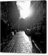 Evening Walk In Paris Bw Squared Canvas Print