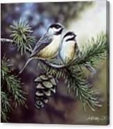 Evergreen Chickadees Canvas Print
