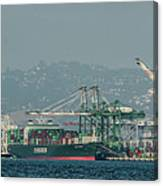 Evergreen Freight Ship And Cargo In Port Of Oakland, California Canvas Print