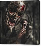 Evil Male Zombie Screaming Out In Bloody Fear Canvas Print