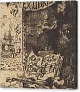 Ex-libris De L?on Lerey (ex-libris Of Leon Lerey) Canvas Print