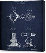 Exercise Machine Patent From 1879 - Navy Blue Canvas Print