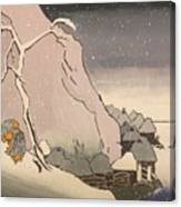 Exiled Buddhist Cleric Nichiren In The Snow Canvas Print