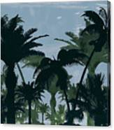 Exotic Palm Trees Silhouettes Water Color Canvas Print
