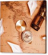 Explorer Desk With Compass, Map And Spyglass Canvas Print