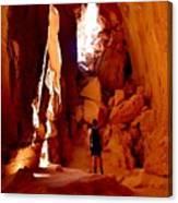 Exploring A Cave Canvas Print