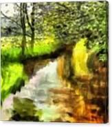 Expressionist Riverside Scene L A Canvas Print