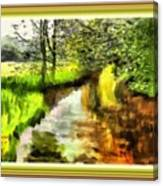 Expressionist Riverside Scene L A With Alt. Decorative Printed Frame. Canvas Print