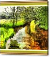 Expressionist Riverside Scene L A With Decorative Ornate Printed Frame Canvas Print
