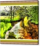 Expressionist Riverside Scene L B With Alt. Decorative Printed Frame.  Canvas Print