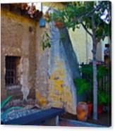 Exterior Wall Of Serra Chapel Mission San Juan Capistrano California Canvas Print