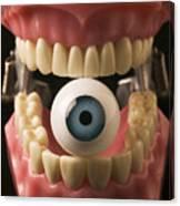 Eye Held By Teeth Canvas Print