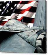 F-14 And Flag Canvas Print