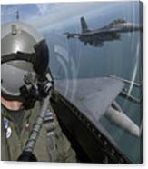 F-16 Fighting Falcons Flying Canvas Print