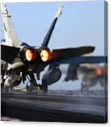 F 18 Hornet-aircraftcarriers Canvas Print