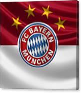 F C Bayern Munich - 3 D Badge Over Flag Canvas Print