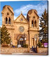 Facade Of Cathedral Basilica Of Saint Francis Of Assisi - Santa Fe New Mexico Canvas Print