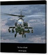 Face Of Death Ah-64 Apache Helicopter Canvas Print